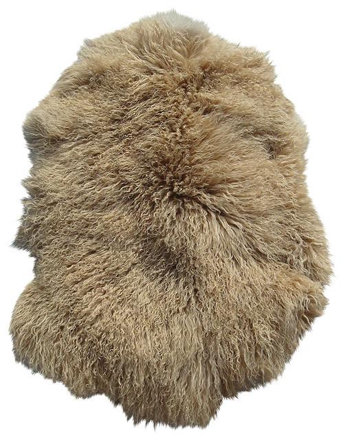 Tibetan / Mongolian Lamb Fur Long Pelt / Skin Dark Beige rustic-rugs