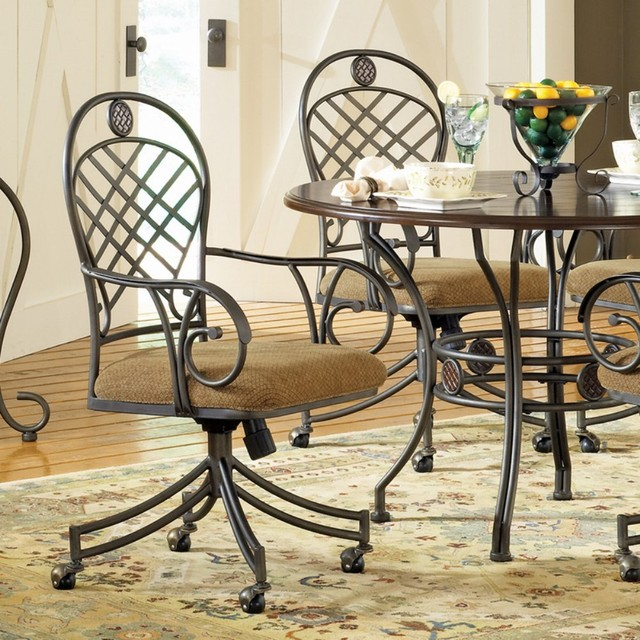 Dining Chairs With Wheels: Steve Silver Wimberly Welded Arm Chairs With Casters