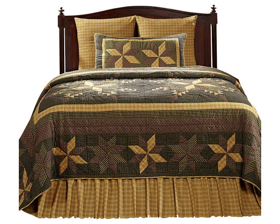 """VHC Brands - Amherst 3 Piece King Size Quilt Ensemble - This beautiful, 100% cotton, quilt features a patchwork eight-point star design in the colors of black, mustard gold, brown tones, tan and cream.  The over-sized quilts are machine cut and pieced with hand quilted stitch in the ditch style quilting. The shams also feature the same great patchwork design and hand quilting as the quilt. The back of the sham features a 3"""" over-lap with 3 buttons to conceal your pillow insert. Quilts and shams are machine washable. Please follow manufacture's directions. This ensemble includes the king quilt and 2 king quilted shams. King quilt measures 110"""" x 97"""" and the king shams measure 21"""" x 37""""."""