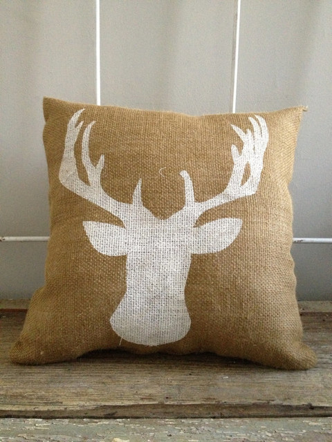 Decorative Pillows With Deer : Burlap Pillow, Deer Bust by Two Peaches Design - Contemporary - Decorative Pillows - by Etsy