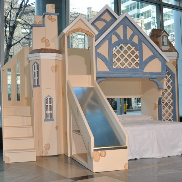 Cottage Theme Bed W Slide Traditional Kids Houston