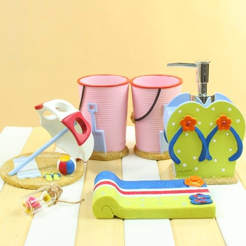 Creative design beach style bath accessory set resin for Beach themed bathroom sets