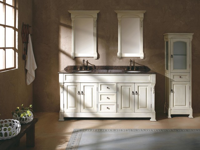 72 sicily double sink vanity cottage traditional for Antique white double sink bathroom vanities