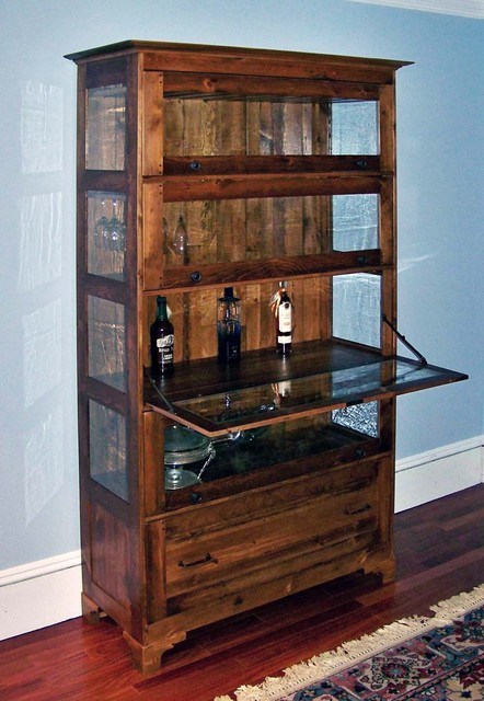 Antique-style liquor cabinet with Bendheim glass inserts