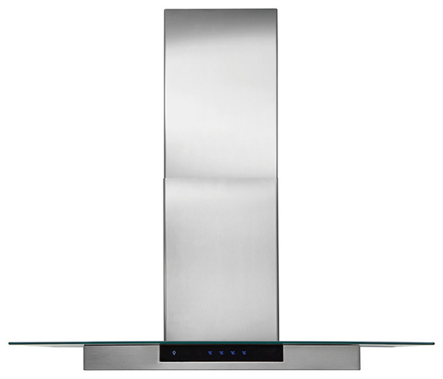 """36"""" Glass and Stainless Canopy Wall-Mount Hood contemporary-range-hoods-and-vents"""