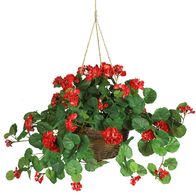 Geranium Hanging Basket Silk Plant traditional-artificial-flowers-plants-and-trees