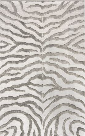 Safari Contemporary Zebra Print with Faux Silk Highlights Gray Rug contemporary rugs
