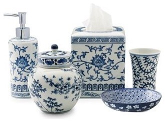 Ming bath accessories blue white traditional for White bathroom accessories set