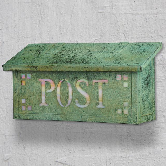 Pasadena Post Horizontal Wall Mounted Mailbox traditional-mailboxes