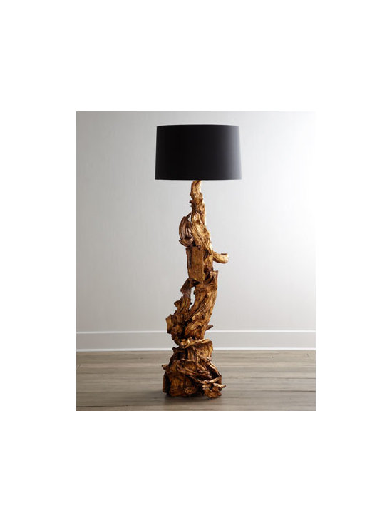 "Arteriors - Arteriors ""Ashland"" Dragon-Root Floor Lamp - Part sculpture, part conversation piece, and totally intriguing, this striking floor lamp is formed from a natural piece of wood Natural wood base; size and shape will vary. Gold-leaf finish. Polyester shade with cotton lining. Three-way switch on s..."