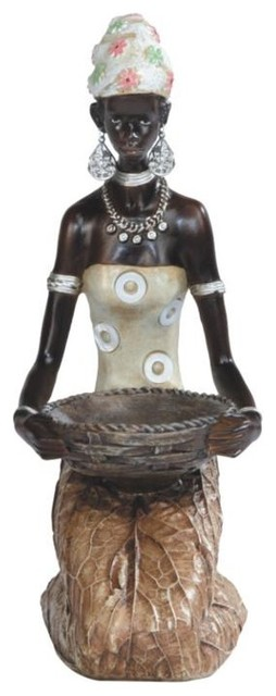9.25 Inch African Lady In Brown Dress Figurine mediterranean-decorative-objects-and-figurines