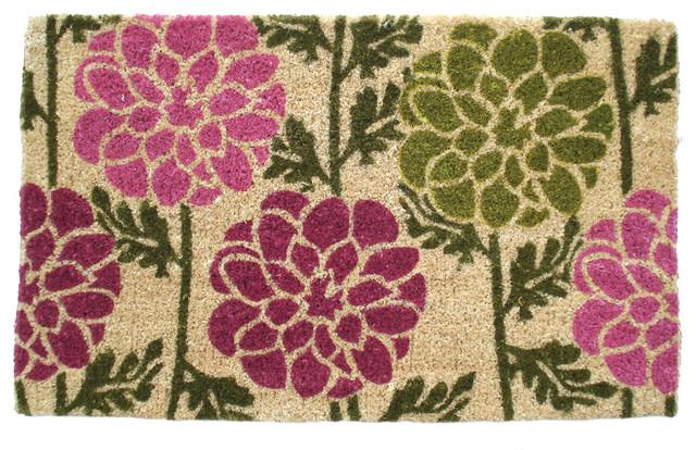 Dahlias Hand Woven Coconut Fiber Doormat contemporary-doormats