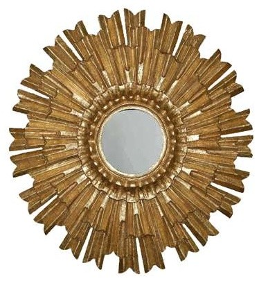 Eleganza Mirror in Antique Gold Finish eclectic-wall-mirrors