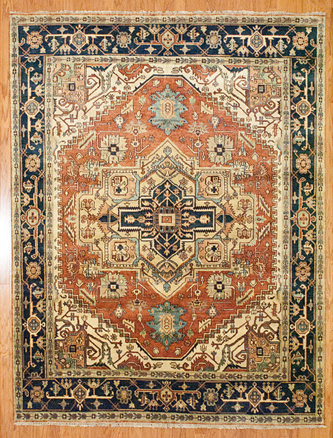 Indo Hand-Knotted Serapi Rust/ Blue Wool Rug traditional-rugs