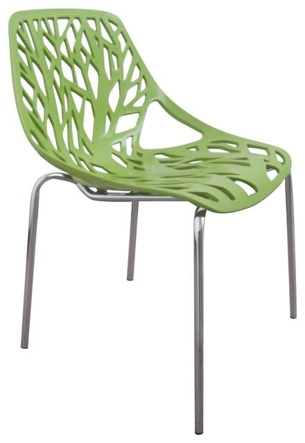 Tree Cutout Dining Chair Green Plastic Modern Dining