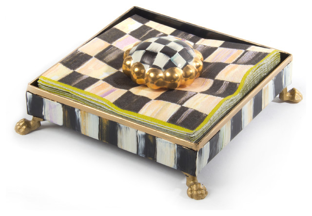 Courtly Check Cocktail Napkin Holder Set | MacKenzie-Childs eclectic-napkin-holders