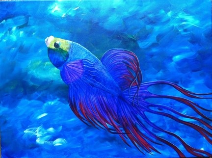 Just Keep Swimming (Original) by Simone contemporary-originals-and-limited-editions