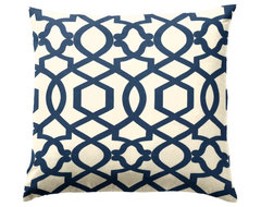 Blue Trellis Throw Pillow traditional-decorative-pillows