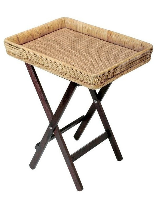 Kouboo - Butler with Foldable Stand - With a wicker and arurog tray hand woven on a sturdy wood frame by master weavers, and a solid foldable stand made from tanguile wood, this coastal ensemble never fails to impress. Complete with a great book and a few often-forgotten toiletries,  this foldable butler stand is the perfect addition to any guest room.