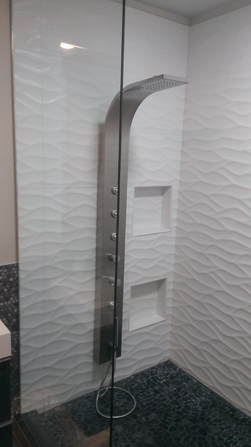 Master Bathroom Large Wave Tile Shower Penny Tile
