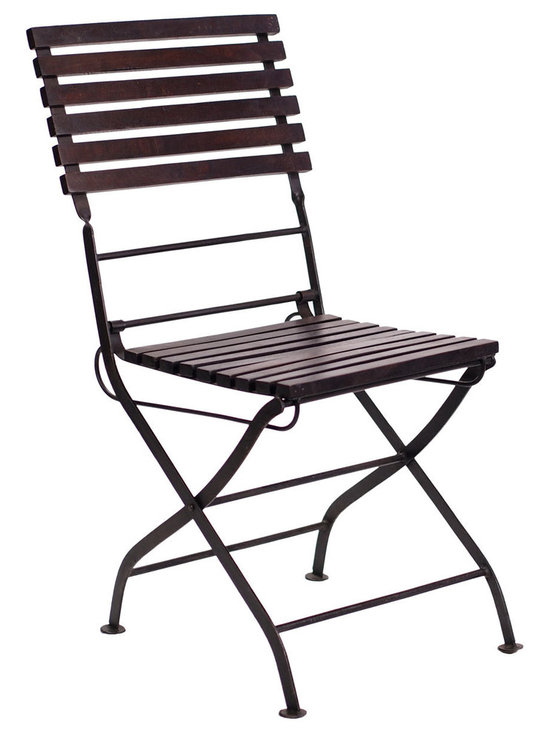 Carmen Folding Chair - The Carmen folding chair is delicate yet strong and durable. It's perfect for bistro style seating and folds up to a compact size. Constructed of antique black iron and sustainable mango wood.