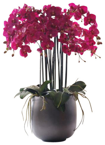 Phalaenopsis Orchid In Pot Flower Arrangement traditional-artificial-flowers