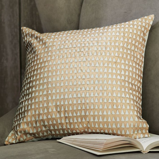 Hand-Blocked Triangle Pillow Cover modern-decorative-pillows