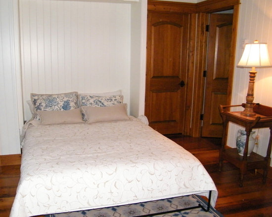 Secret Sleeper Murphy Beds - Queen concealed murphy bed in open position. Fantastic for small spaces! Pictured; in a boathouse