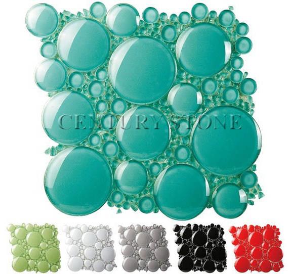 3D Bubble Round Glass Mosaic Tile