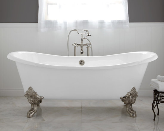 "Bathtubs - Transform your bathroom into a luxurious suite with the addition of the 73"" Lena Cast Iron Double Slipper Tub. Its elaborate monarch imperial feet feature intricate details and are available in several finish options to seamlessly coordinate with any existing bath decor.--Signature Hardware"