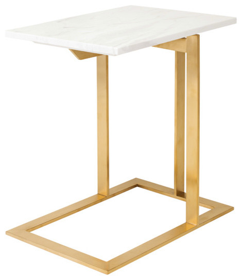 Gold Stainless Steel Amp White Marble Top Side Table