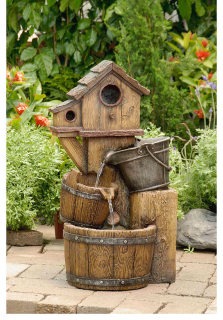 Rustic Bird House Outdoor Water Fountain Contemporary