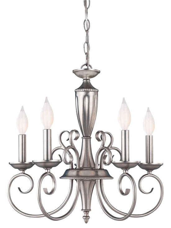 Savoy House Spirit 5 Light Chandelier - With a refined, sophisticated look and affordable price, this classic Karyl Pierce Paxton chandelier offers the best of both worlds! Sure to blend effortlessly with a range of surroundings and offer a timeless look for years to come, this piece is finished in a sleek pewter. (Also available in 9-light variety.)