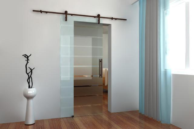 Modern barn door hardware for glass door - Contemporary ...