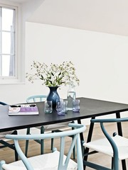 Black table & blue chairs. | Home : Living / Dining / Work