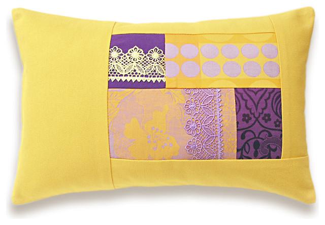 Yellow Lavender Purple Lumbar Pillow Case 12 x 18 in IRMA DESIGN
