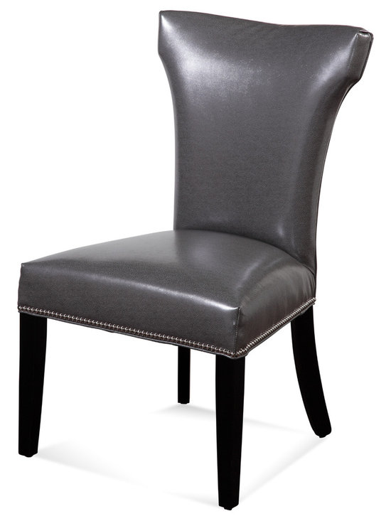 Bassett Mirror - Nelson Nailhead Parsons Chairs, Gray, Set of 2 - Style your transitional decor with these Nelson Nailhead Parsons Chairs. Features include a charcoal gray kleen seat, hammerhead back, solid black legs and silver nailhead trim on the front and side seat rails. Set these chairs at your dining room or kitchen table for a sleek, sophisticated look.