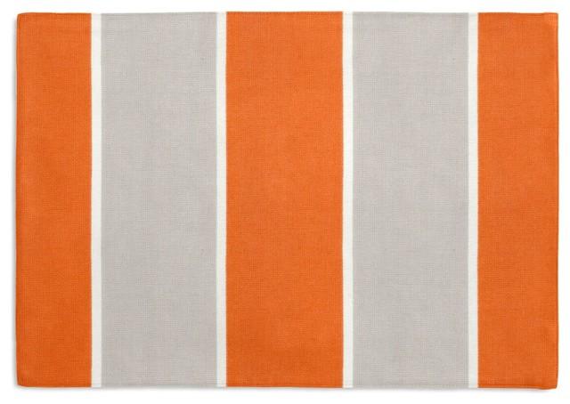 Awning Stripe Custom Placemat Set Orange Amp Gray