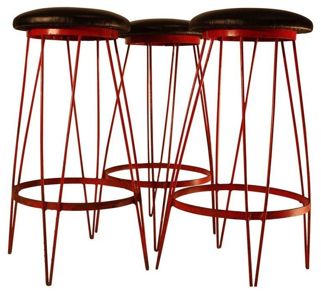 Pre-owned Mid-Century Leather & Metal Bar Stools - Set of 3 midcentury-bar-stools-and-counter-stools