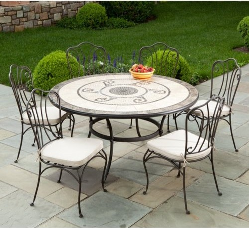 Alfresco Home Ravello 60 in Round Mosaic Patio Dining Set Seats 6 Contem