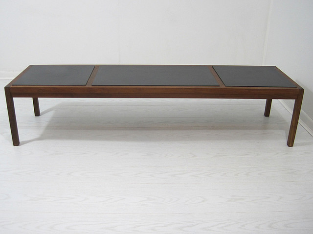 Mid Century Slate Tile Top Coffee Table Bench Midcentury Coffee Tables Other Metro By