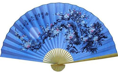 Cobalt blue blossoms asian wall fan asian home decor by oriental decor - Wall fans decorative ...
