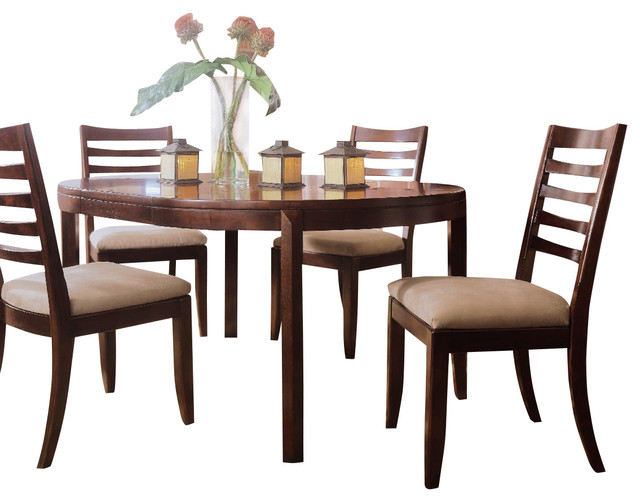 American Drew Tribecca 7-Piece Round Leg Table Set in Root Beer Color traditional-dining-tables