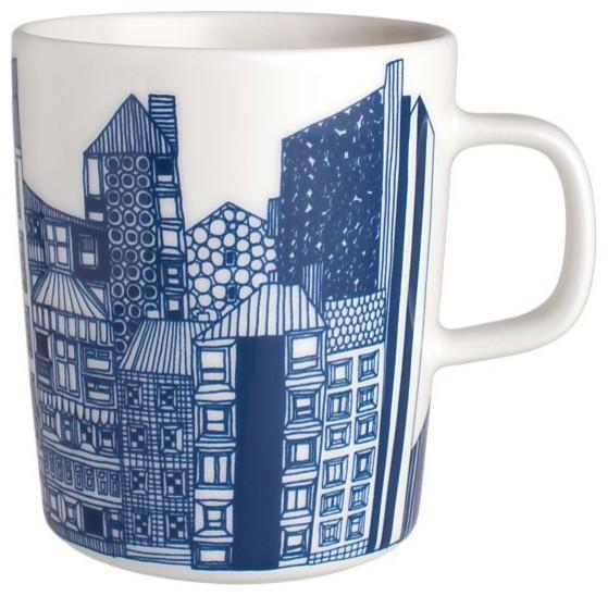Marimekko Siirtolapuutarha Blue and White Mug modern-serving-utensils