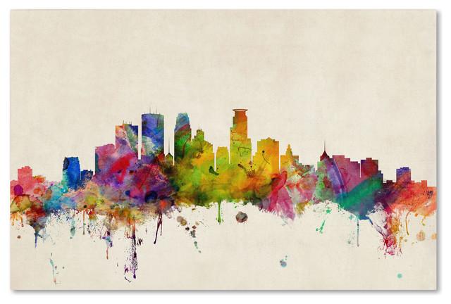 Michael Tompsett 'Minneapolis,Minnesota' Canvas Art contemporary-artwork