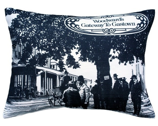 """Pillow Decor - Pillow Decor - Woodward's Gateway to Gastown Throw Pillow 16X20 - The Woodward""""s Gateway to Gastown Throw Pillow features the design that covered the original shopping box used by Woodward""""s Department Stores in the 1970s. The print on the box depicts an image of an 1880""""s scene in the historical district of Gastown and a stylized shield with the words, """"Woodward""""s Gateway to Gastown""""."""