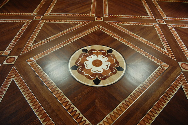 Custom Parquet And Wood Inlay Floor For Library