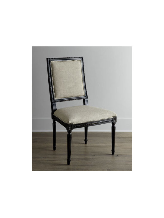"""Massoud - Massoud """"Amiyah"""" Side Chair - Casual, comfortable, cottage-style dining starts with this dining chair. We're especially fond of the interplay of color—soft, neutral upholstery and darker hued wood. Nailhead trim adds a bit of polish. Handcrafted of furniture-grade hardwoods wi..."""
