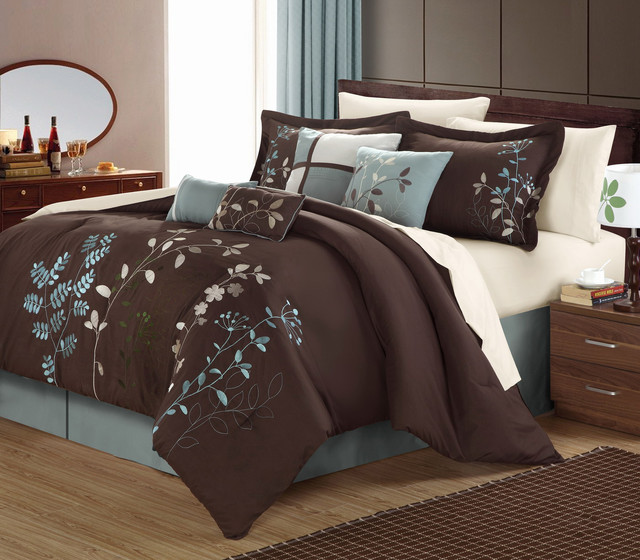 Bliss Garden 8 Piece Chocolate Brown Comforter Set