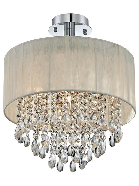 """Possini Euro Design - Possini Euro Jolie Antique Ivory Shade Crystal Ceiling Light - This semi-flushmount ceiling light combines strands of faceted crystal with a semi-transparent drum shade for a beautiful look. Chrome finish hardware completes the reflective theme. Perfect over a formal dining table or a chic seating area. Chrome finish. Sheer antique ivory fabric drum shade. Crystal drops. Takes four 40 watt candelabra bulbs (not included). 18"""" high. Shade is 15"""" wide 6 1/2"""" high. Top of shade to ceiling is 5"""".  Chrome finish.   Sheer antique ivory fabric drum shade.   Crystal drops.   Luxe living style.  Takes four 40 watt candelabra bulbs (not included).   18"""" high.   Shade is 15"""" wide 6 1/2"""" high.   Top of shade to ceiling is 5""""."""
